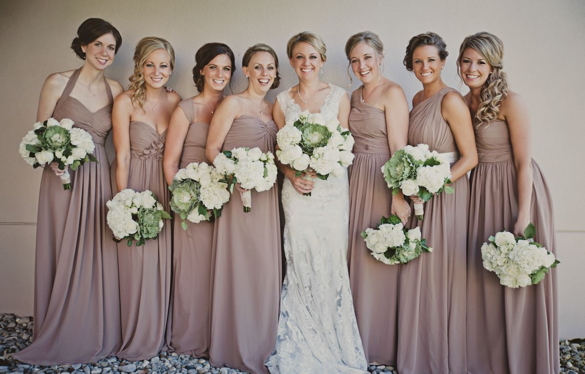 Full Length Taupe Bridesmaid Dresses And Cabbage Flower Bouquets Taupe Bridesmaid Taupe Bridesmaid Dresses Taupe Bridesmaid Dress Long