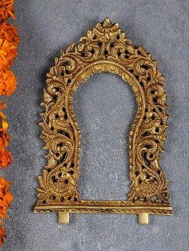 Peacock Engraved Brass Prabhavali Home And Decor