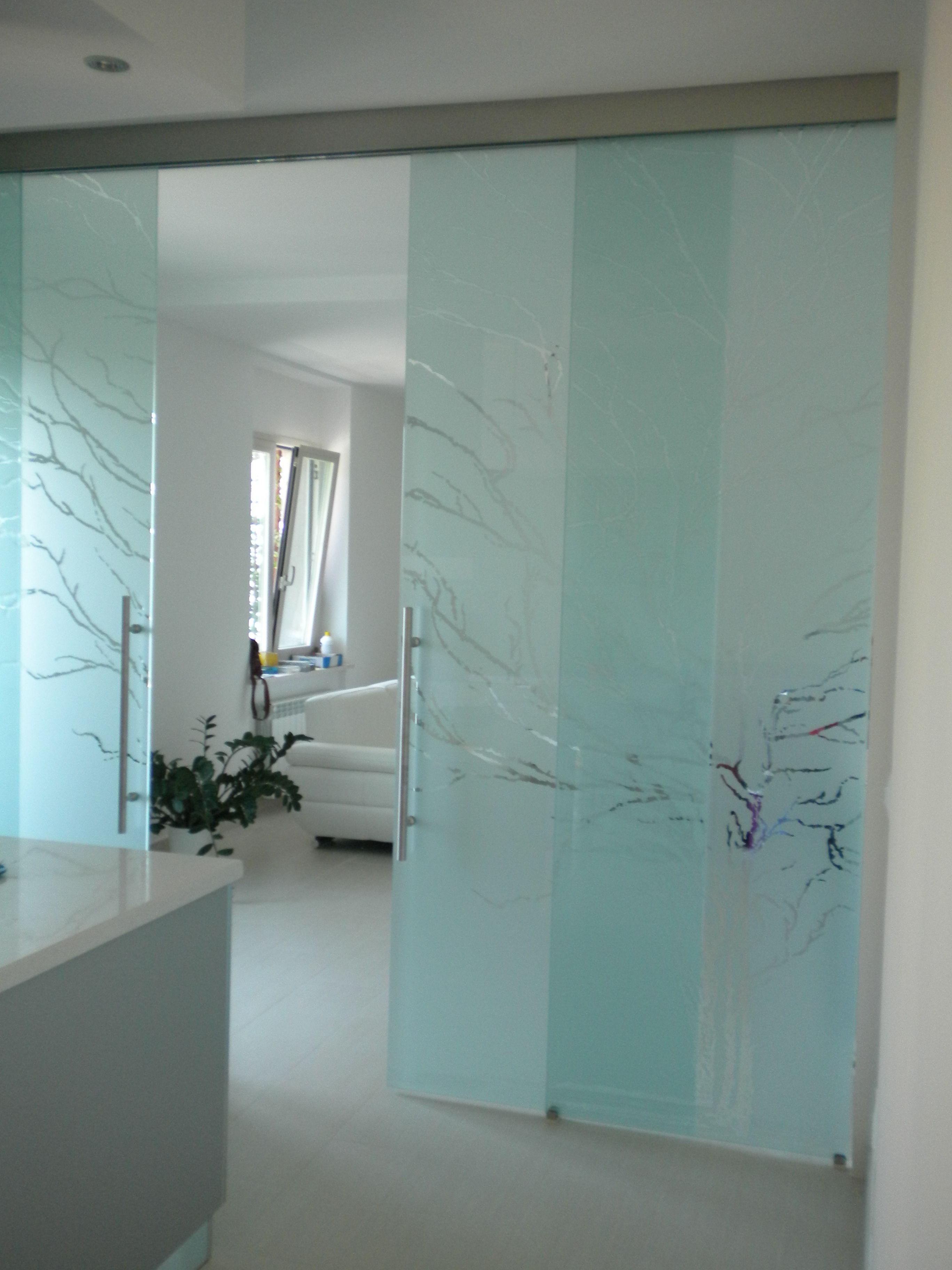 Casali porte in vetro sabbiate e incise modello albero casaliav slidingdoor glassdoor - Casali porte prezzi ...