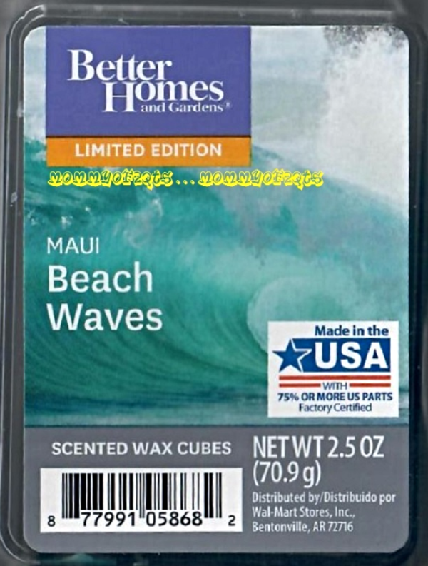 Maui beach waves better homes and gardens scented wax cubes tarts melts decor maui beach for Better homes and gardens wax melts