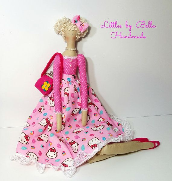 Hello Kitty doll  textile doll Tilda doll by littlesbyBella