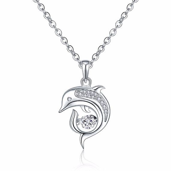 JO WISDOM Palm Tree Necklace,925 Sterling Silver Dancing Zirconia Coconut Palm Tree Pendant Necklace,Jewellery for Women