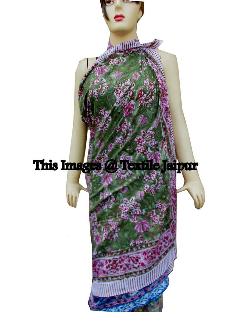 62fea23929 5 Indian Lady Sexy Women's Cotton Floral Print Pareo Long Scarf Cotton  Swimwear #Handmade #Swimdress