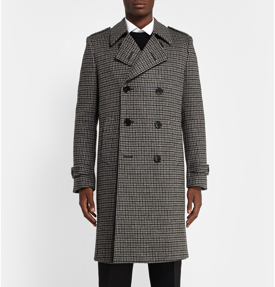 Saint Laurent Houndstooth Brushed Wool Overcoat Mr Porter Wool Overcoat Black Houndstooth Men S Coats And Jackets [ 1002 x 960 Pixel ]