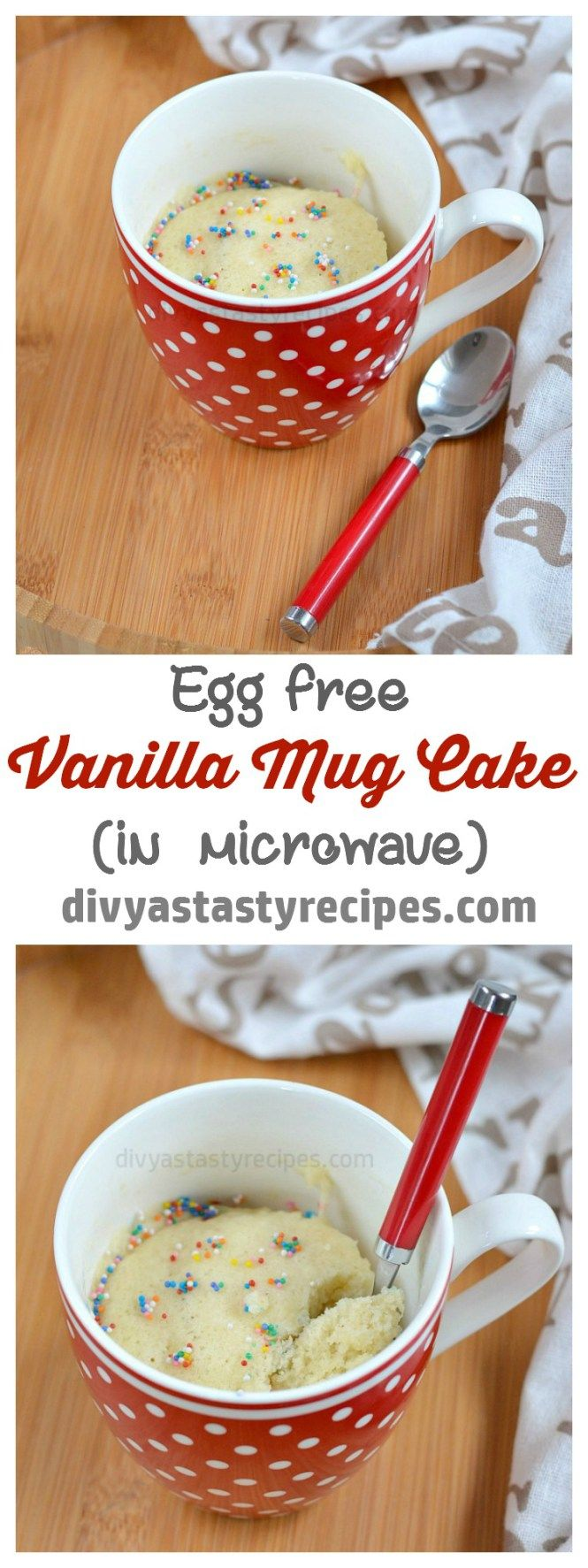 Vanilla Mug Cake, Eggless Vanilla Mug Cake in Microwave ...