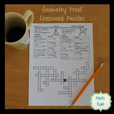 Geometry Proof Crossword Puzzles Geometry Proofs Geometry Proofs Activities Teaching Geometry Geometric proofs worksheet with answers