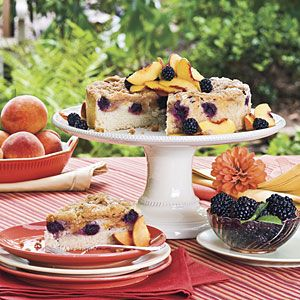 Blackberry Peach Coffee Cake-- I made it with just peaches and it was so wonderful