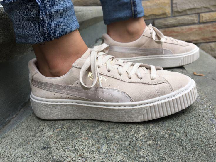 puma suede platform gris