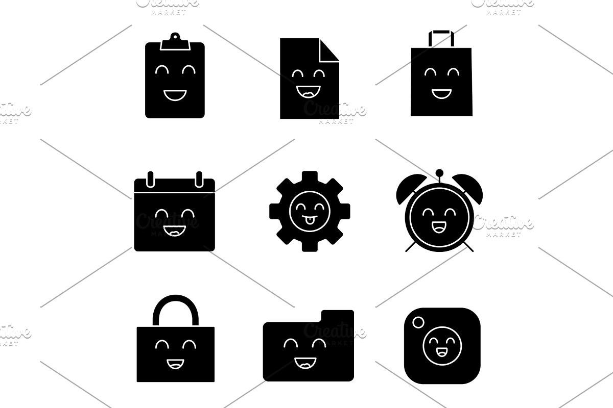 Smiling items glyph icons set in 2020 Glyph icon, Icon