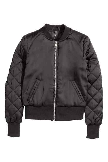 Long T shirt   Fitted bomber jacket in 2019   Satin bomber
