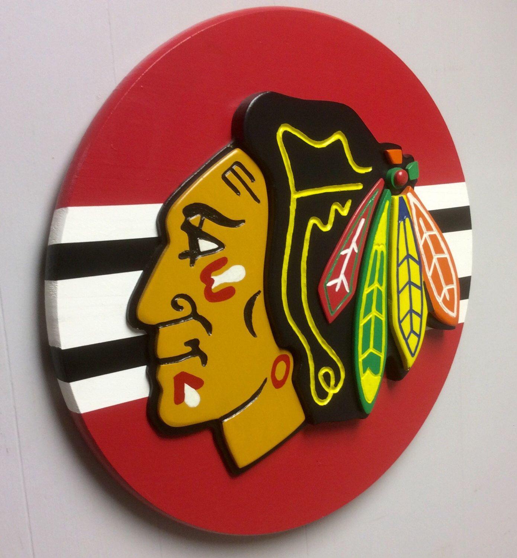 Chicago blackhawks Indian head 3D plaque, Chicago Blackhawks wood ...