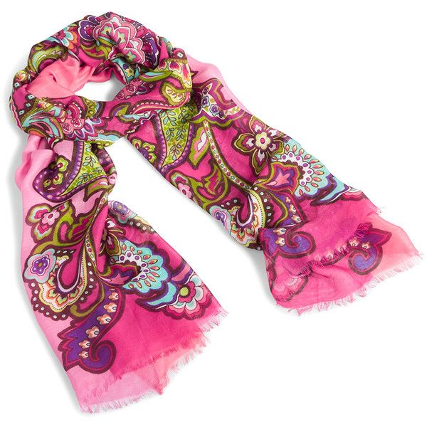Vera Bradley Pink Swirls Fringe Scarf ❤ liked on Polyvore featuring accessories, scarves, pink scarves, pink shawl, vera bradley, vera bradley scarves and fringe scarves