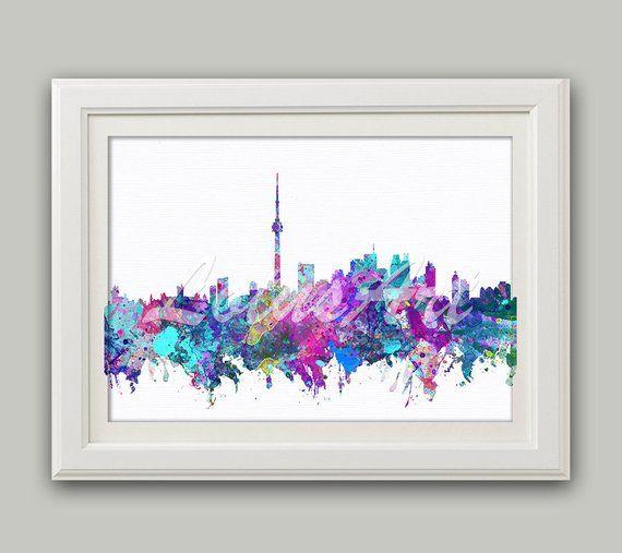 Toronto Watercolor Print Toronto Wall Art City Skyline Toronto