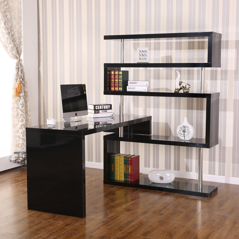 home office corner desks. HomCom Rotating Home Office Corner Desk And Shelf Combo Black Desks