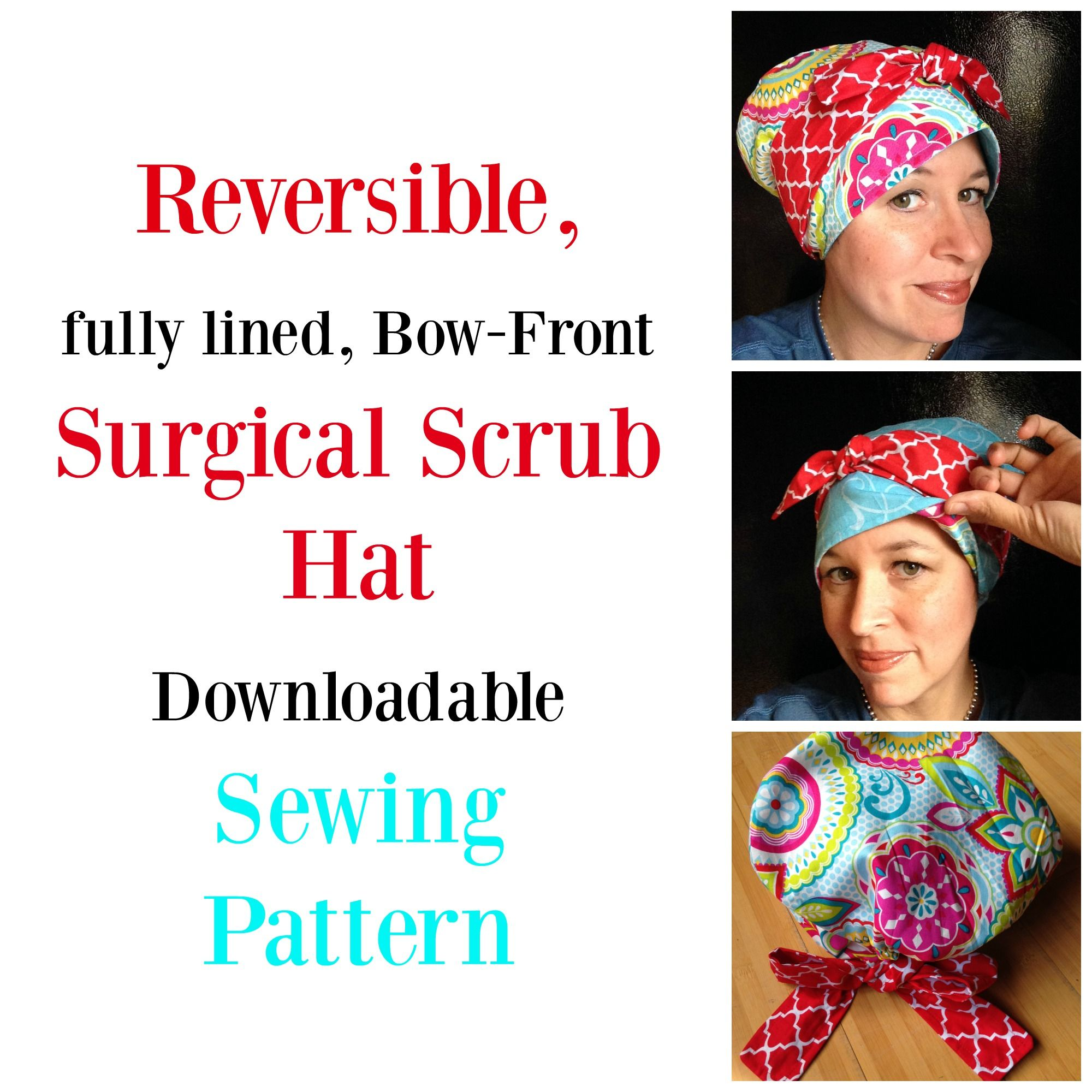 DIY Reversible Scrub Hat with a pattern to cut out and keep. Two in ...