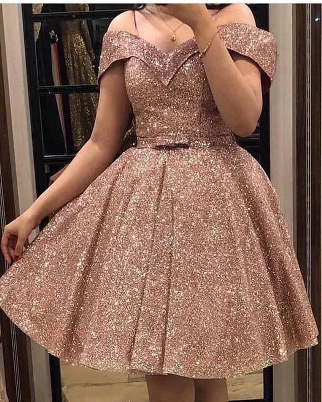 Off The Shoulder Short Homecoming Dresses With Bowknot Gold Dress Short Rose Gold Prom Dress Rose Gold Dress Short
