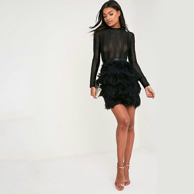Black Dress With A Feathered Bottom For A Great Evening Style Fashion Fashionblogger Beanthonia Feather Skirt Bodycon Dress Dresses