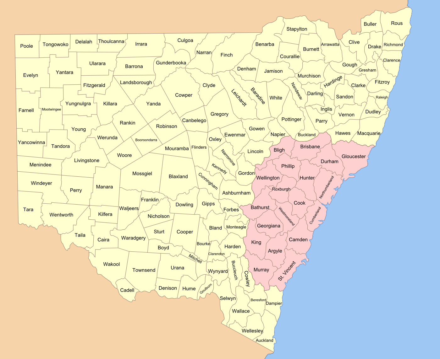 141 counties of New South Wales (before the ACT was