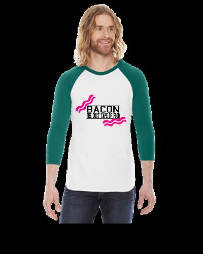 Bacon- Duct tape of food - Vector - 3/4 Sleeve Raglan Shirt