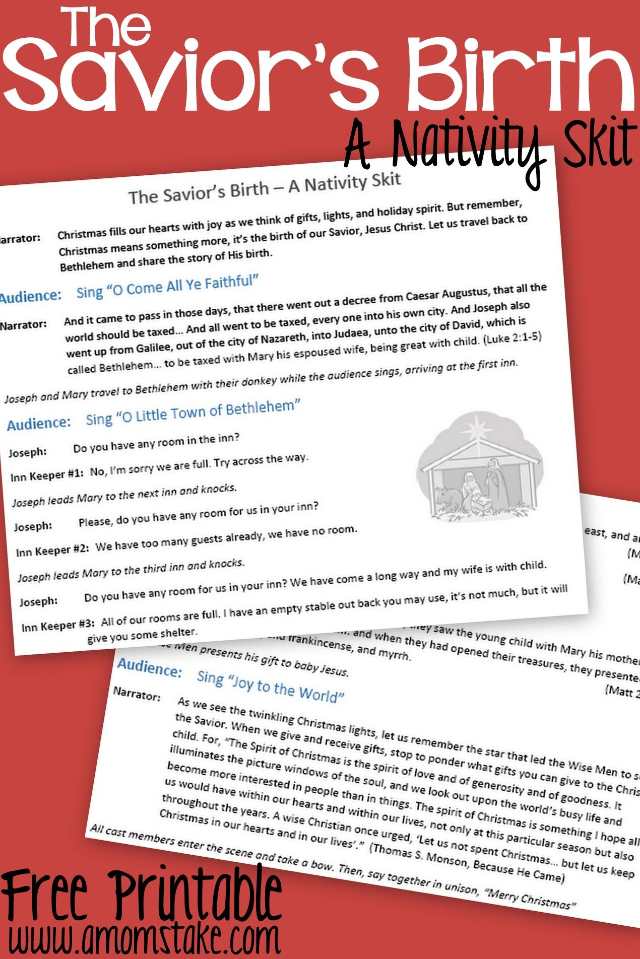 Free Printable Nativity Skit To Act Out The Birth Of The Savior Jesus Christ A Fun Activity For Christmas With The Kids
