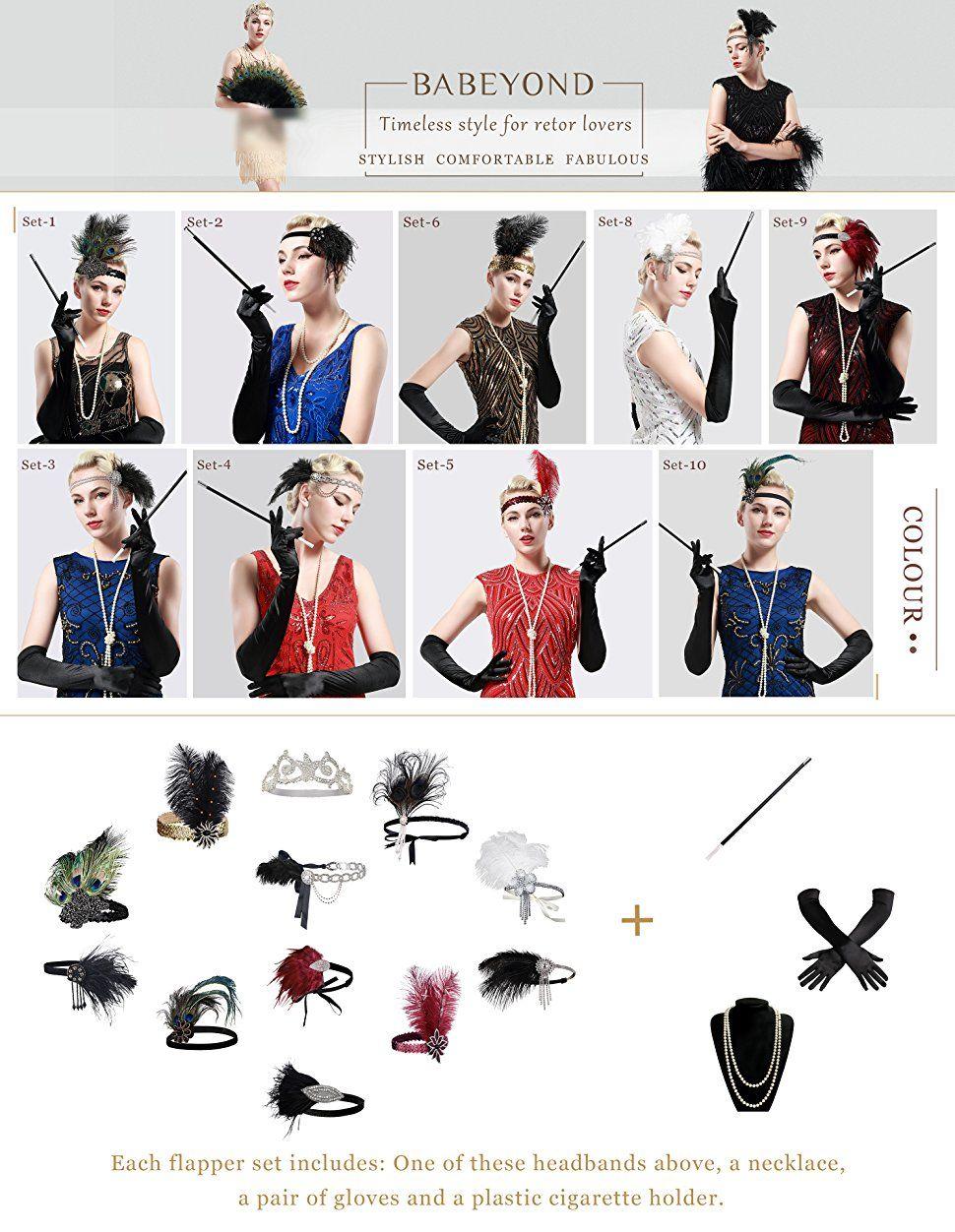 Babeyond 1920s Flapper Set Damen Gatsby Kostum Accessoires Set
