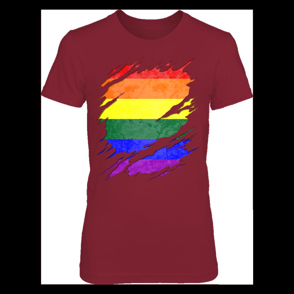 Gildan Women s T-Shirt for family - LGBT Gay Pride Rainbow Flag Ripped d4743d3bda