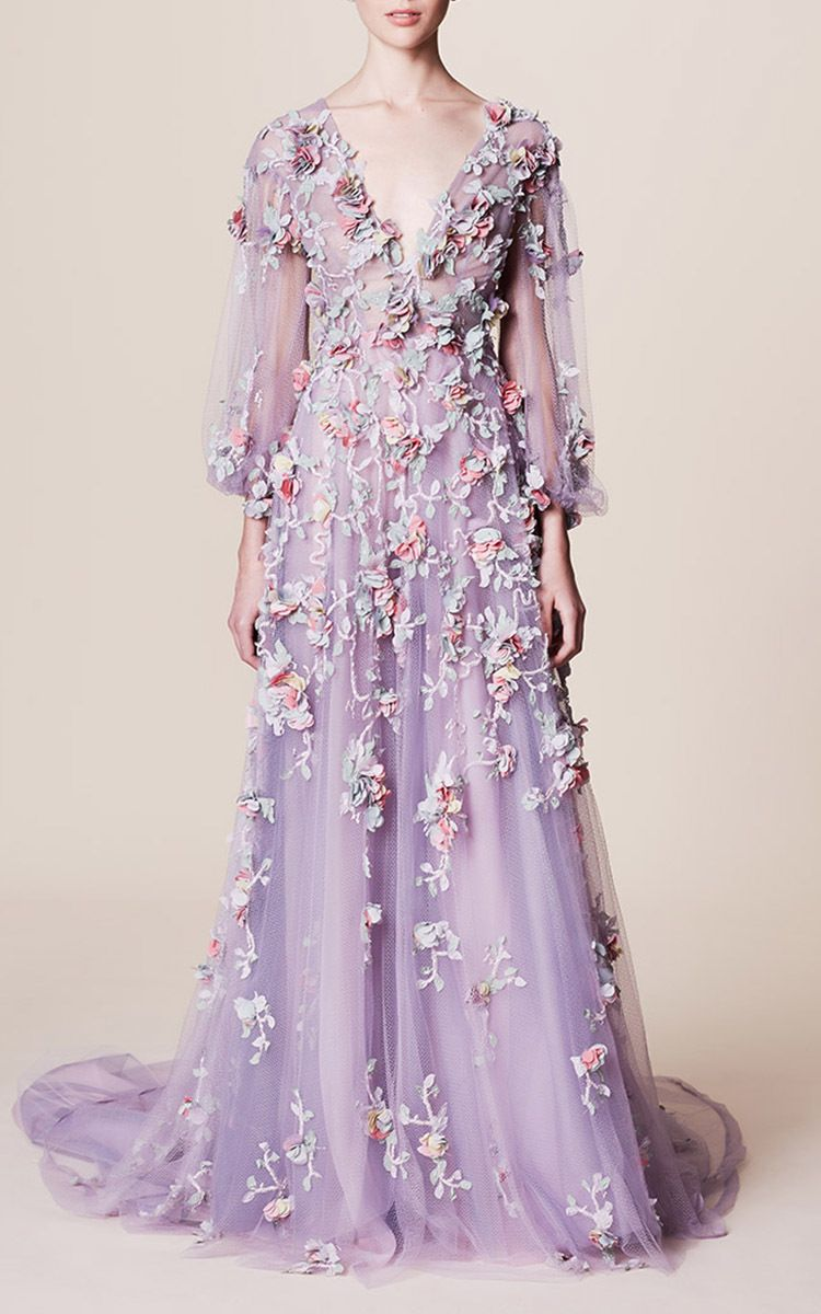 09312e80 V Neck Floral Embroidered Gown | wishlist | Marchesa gowns, Fashion ...