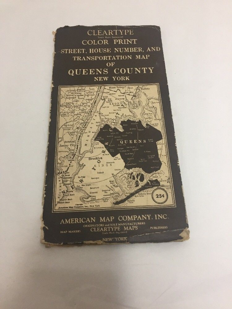 American Map Company Inc.Vintage American Map Company Queens New York City 1940s Across The