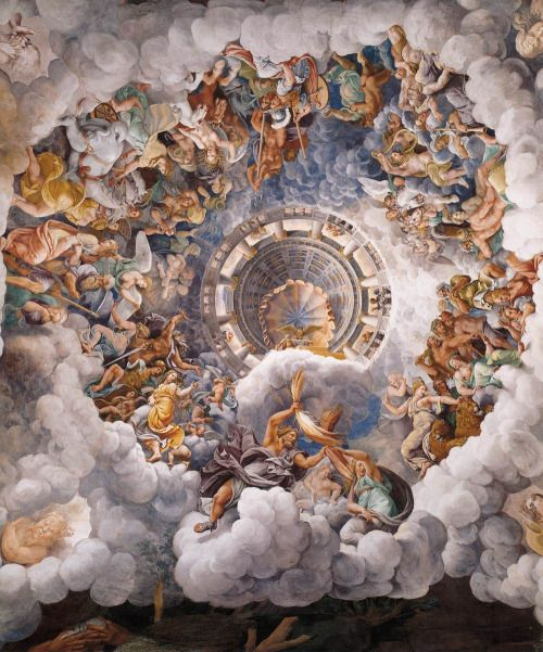 renaissance-art: Giulio Romano c. 1532-1534 The Assembly of Gods Around  Jupiter's Throne Sala dei Giganti | Renaissance art, Classic art, Art