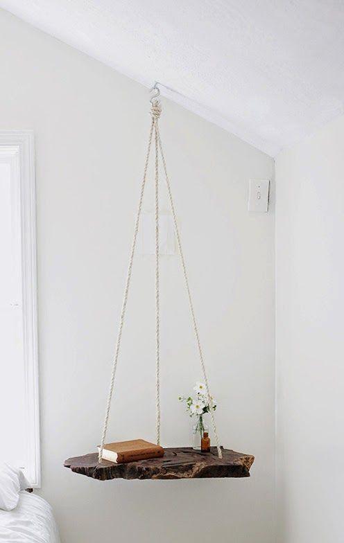 la reines blog ausgefallenen nachttisch selber bauen holzstamm mit seil nachttische. Black Bedroom Furniture Sets. Home Design Ideas