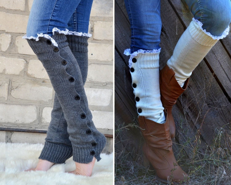 Charcoal Grey Boot Sock Button Women Legwarmer Warmer Slouchy With