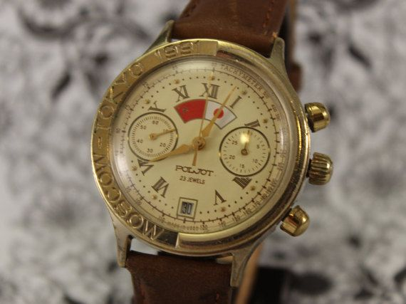 a348cd324f4b Vintage Poljot chronograph 3133 1991 Moscow Tokyo 23 jewel limited edition  gold Plate Pocket Watch,