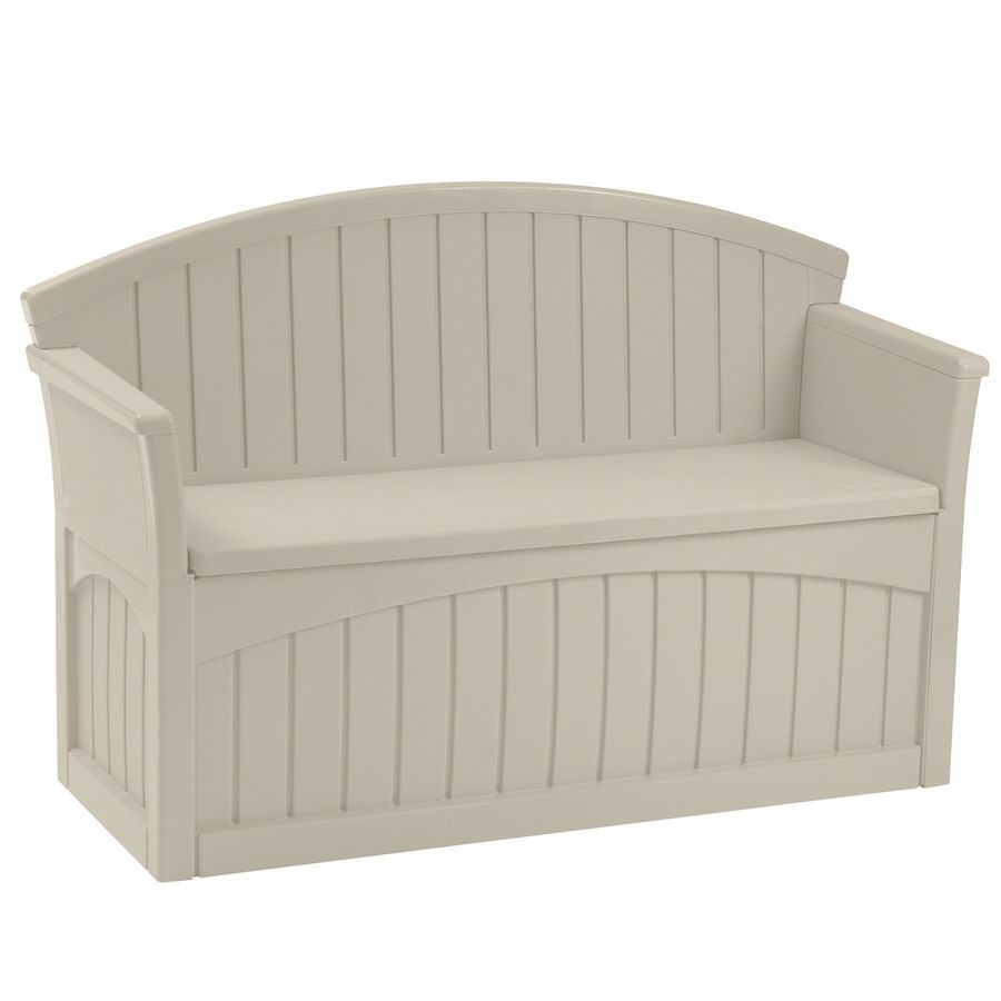 Suncast 21 In W X 52 75 In L Patio Bench Lowes Com Outdoor Storage Bench Deck Storage Bench Patio Storage