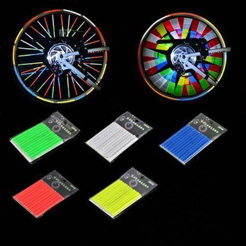 12 pcs//set Bicycle Mountain Bike Riding Wheel Rim Spoke Mount Clip Tube Reflector Warning Light Strip,green