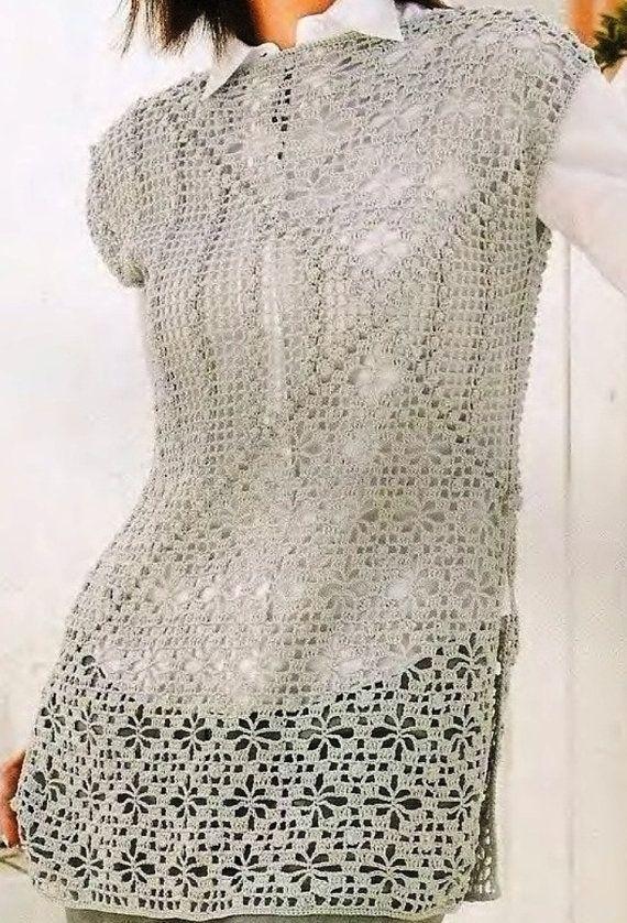 Japanese Crochet Lace short sleeve pattern PDF by GLBhandmade   Филе ...