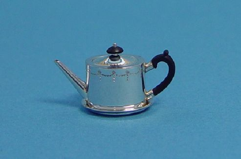 Dollhouse Miniature Metal Tableware Silver Tea Coffee Pot Kitchen Accessory