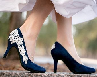 Wedding Shoes Navy Blue Bridal Heels By Walkinonair
