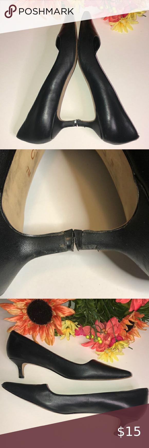 Charles David Leather Kitten Heel Pointed Toe In 2020 Kitten Heels Shoes Women Heels Heels