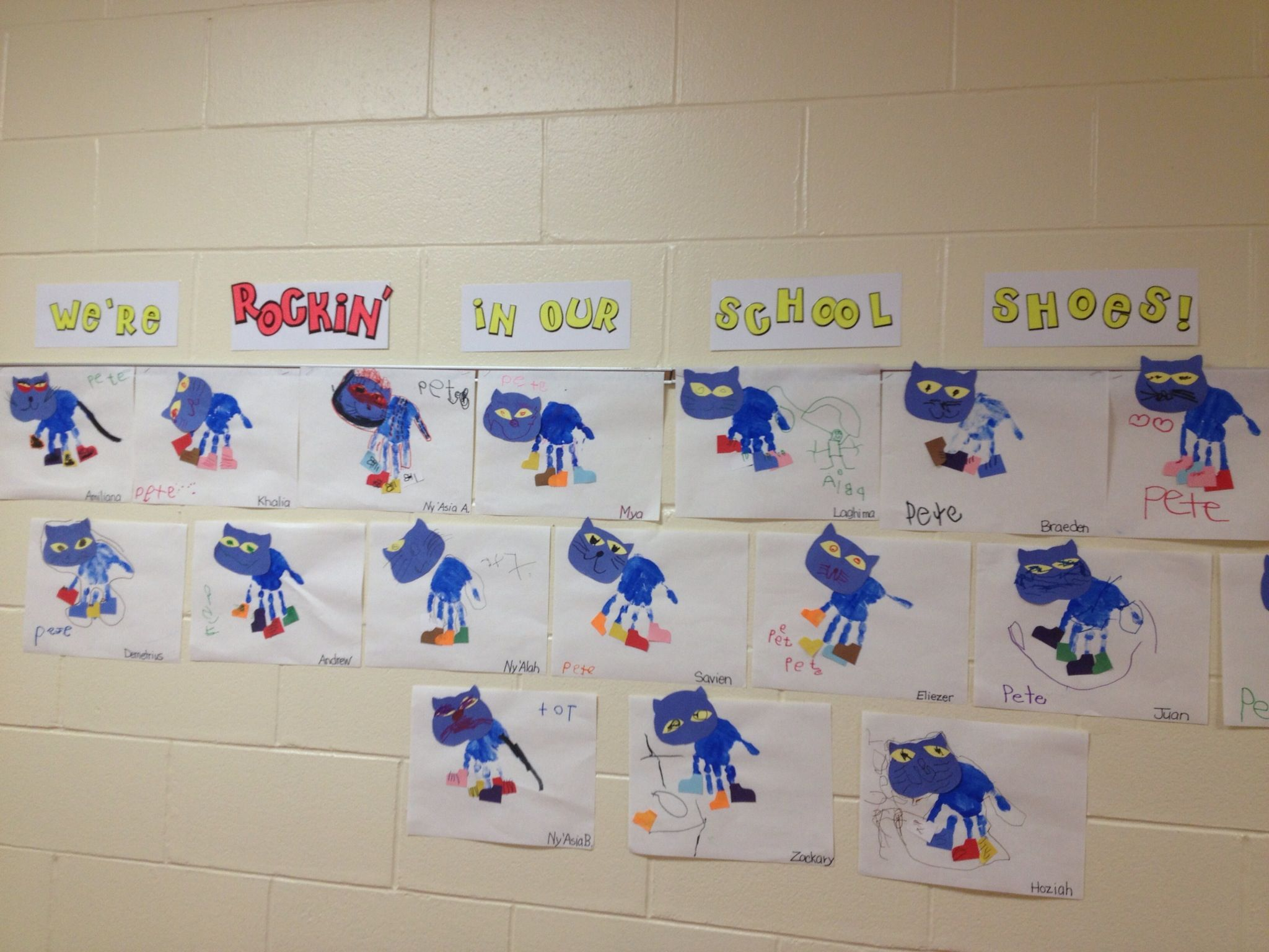 My Version Of A Pete The Cat Handprint Craft