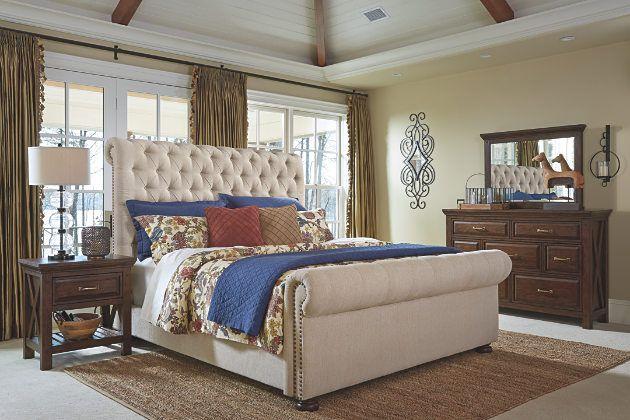 Windville White Linen Upholstered Bed Frame With Dark Wood Dresser Set And Night Stand Upholstered Sleigh Bed Ashley Furniture Bedroom Wood Bedroom Furniture