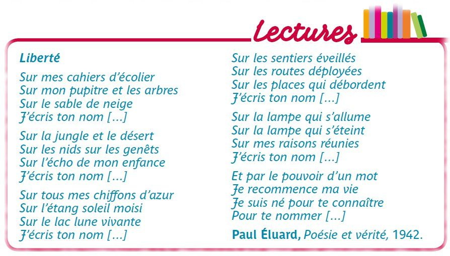 Liberté Paul éluard écriture Dun Roman Eluard Et Mon Cahier