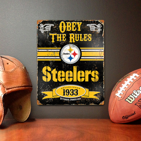 "FREE SHIPPING!  These attractive embossed metal signs have an authentic vintage look!  - Features a realistic weathered design and embossed lettering. - Made from HEAVY DUTY steel. - Riveted in all four corners for easy hanging. - Perfect addition for fan caves, offices, bedrooms, or recreation rooms! - Sign measures 11.5"" x 14.5"""