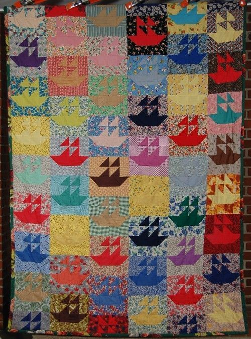 CHEERY 40's Sailboat Antique Quilt ~VINTAGE FABRICS & WHIMSICAL NOVELTY PRINTS!