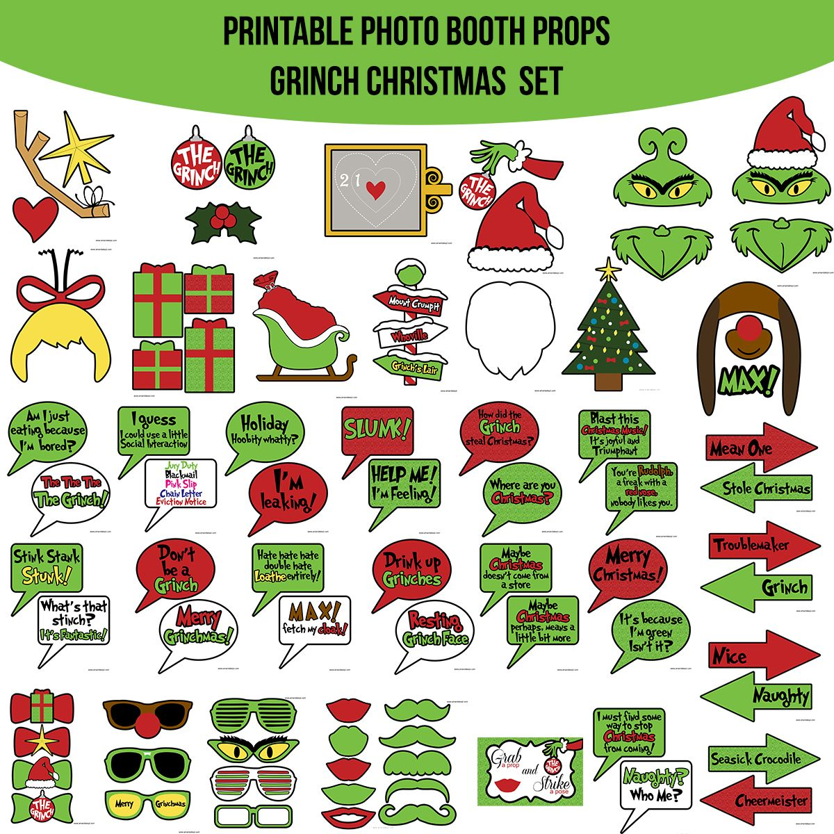 Instant Download Grinch Inspired Christmas Printable Photo