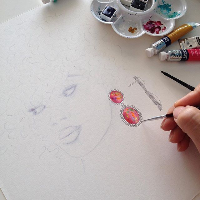 Wip - Pink Opal and Diamonds #desenho #aquarela #joias #design #jewelrydesign #jewelry #jewellery #opal #aquarela #watercolor #illustration #fashionillustration #diamond #draw #rendering #lovemyjob #gold