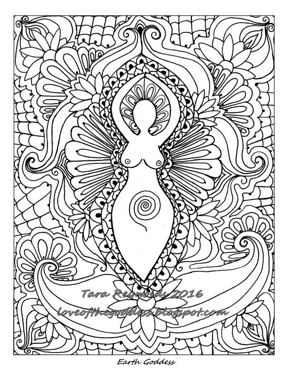 Goddess Art Coloring Page Spiritual Art Coloring Book Page Etsy In 2021  Mandala Coloring Pages, Mandala Coloring, Coloring Pages
