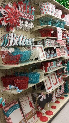 hobby lobby red white aqua christmas decor