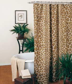 Giraffe Print Shower Curtain Had Daughter S Bathroom Done In This