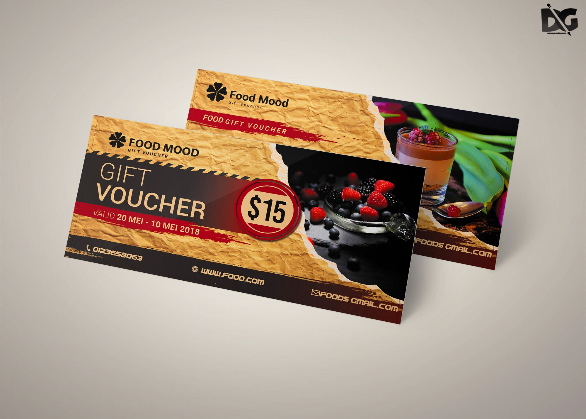 Free Download Food Mood PSD Gift Card Template | Free Psd