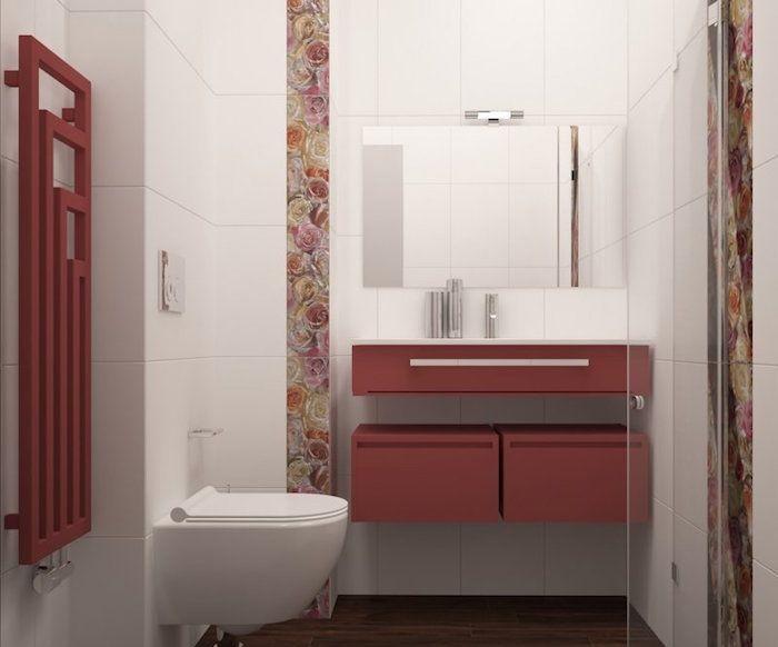 Salle de bain italienne petite surface u2013 les deux pieds sur terre - salle de bain rouge et beige